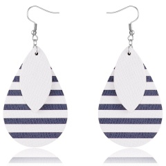 Trendy Geometric Waterdrop PU Leather Dangle Earrings Women Jewelry Blue+White