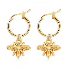 Gold Color Geometric Dangle Earrings Fishtail Moon Bee Charms Womens Fashion Earrings Bee