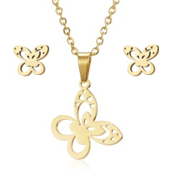 Fashion Stainless Steel Gold Animal Cat Stud Earrings Necklace Jewelry Set Gift Butterfly