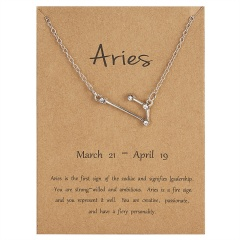 12 Constellations Silver Crystal Zodiac Sign Pendant Necklace Women Card Jewelry Aries