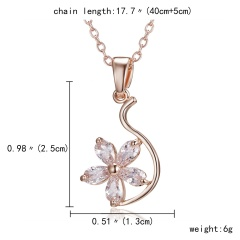 Wedding Bridal Stainless Steel Crystal CZ Love Pendant Necklace Women Jewelry Flower