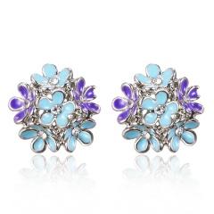 Women Crystal Earrings Enamel Animal Butterfly Bird Star Flower Ear Stud Jewelry Blue Flower