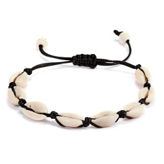 Handmade Natural Seashell Bracelet Bohemian Shell Braid Knit Bracelets Women Accessories Beaded Strand Bracelet Jewelry black rope