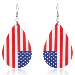Charm Women American Flag Waterdrop Leather Earrings Dangle Drop Jewelry Fashion USA