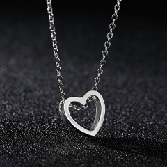 Charm Women's Hollow Heart Necklace Pendant Choker Fashion Lovers Jewelry Gift Silver