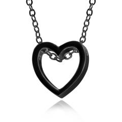 Charm Women's Hollow Heart Necklace Pendant Choker Fashion Lovers Jewelry Gift Black
