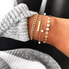 4 Pcs/ Set Crystal Claw Chain Bracelet Bohemian Simple Bead Multilayer Gold Bracelet Set for Women Girl Jewelry Gift 4pcs long bar