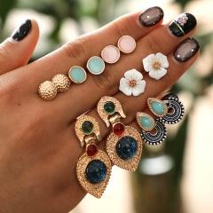 6 Pairs/set Geometric Flower Heart Earrings Crystal Tassel Pearl Drop Dangle Earrings Gift Flower