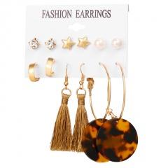 6 Pairs/set Geometric Flower Heart Earrings Crystal Tassel Pearl Drop Dangle Earrings Gift Acrylic