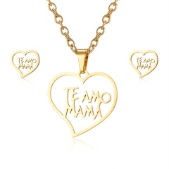 Fashion Jewelry Set Stainless Steel Womens Gold Pendant Necklace Earrings Gifts TE AMO MAMA