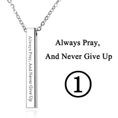 Rectangular Pendant Stainless Steel With Lettering Necklace 1