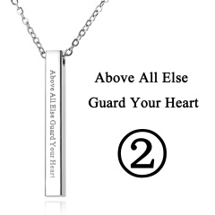 Rectangular Pendant Stainless Steel With Lettering Necklace 2