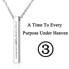 Rectangular Pendant Stainless Steel With Lettering Necklace 3