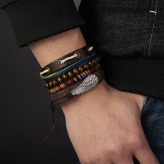 3,4Pcs/Set Men Woven Leather Bracelet Sets Black Loaded Men Charming Wings Wooden Beads Adjustable Bohemia Bracelet Set Jewelry 4pcs wings brown