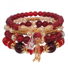 4pcs/set Bohemian Shell Charm Bracelets Bangles For Women Fashion Elastic Strand Adjustable Bracelets Sets Jewelry Party Gifts wine red