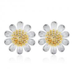 Fashion 925 Silver Crystal Ear Stud Flower Pearl Earrings Women Jewelry Sunflower