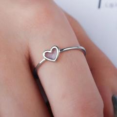 925 Silver Ocean Wave Flower Heart Hollow Fashion Ring Size 7 Women Adjustable Lady Jewelry 7-Heart
