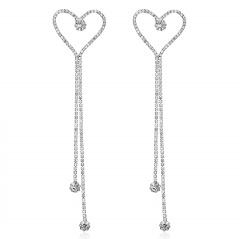 925 Sterling Silver Crystal Heart Stud Earrings Long Tassel Dangle Earrings Silver