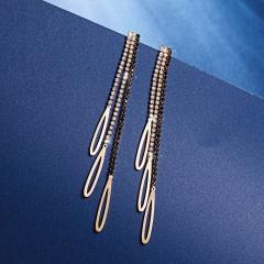 925 Sterling Silver Long Tassel Crystal Dangle Earrings Female Jewelry Stud Earrings Gold