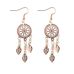 Boho Crystal Earrings Beads Charms Long Tassel Fringe Drop Dangle Earrings Jewelry Boho Leaf