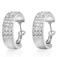 Exaggeration Gold Silver Crystal Stud Earrings Party Womens Fashion Jewelry Silver