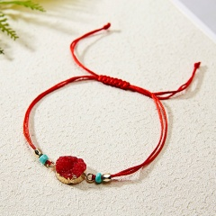 Rinhoo Make a Wish Colorful Natural Stone Woven Paper Card Bracelet Adjustable Lucky Red String Bracelets Femme Fashion Jewelry RED