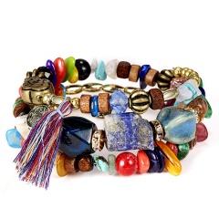 Crystal Bead Bracelets for Women Vintage Boho Multilayer Tassel Natural Stone Charm Wristband Strand Bracelet Gift pulseira Colorful