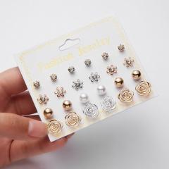 12 Pairs Fashion Zircon Crystal Pearl Earrings Set Women Geometric Ear Stud Jewelry Party Flower