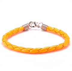2019 New Fashion Braided PU Leather Bracelet Men Women 7 Colors Charm Bracelets Pulseras Male Female Jewelry Gift ORANGE