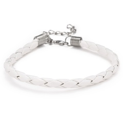 10PCS/Lot Fashion Braided PU Leather Bracelet Men Women 7 Colors Charm Bracelets Pulseras Male Female Jewelry Gift WHITE(10PCS)