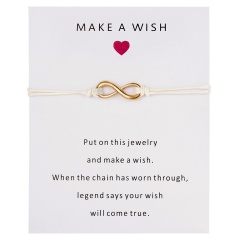 Wish Card Forever Love Infinity 8 Bracelet for Lovers Red String Charm Bracelets Women Men's Wish Jewelry Gift 5 Colors WHITE