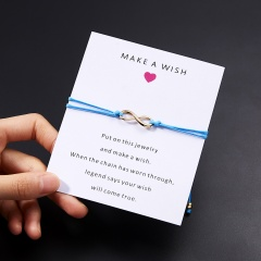 Wish Card Forever Love Infinity 8 Bracelet for Lovers Red String Charm Bracelets Women Men's Wish Jewelry Gift 5 Colors BLUE