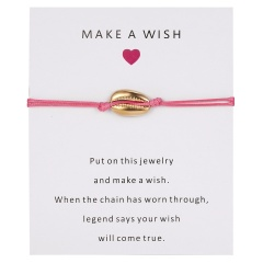 5 Colors Nature Shell Charm Bracelet Wish Card Gift Handmade Red String Bracelets for Women Men Kids Fashion Jewelry PINK