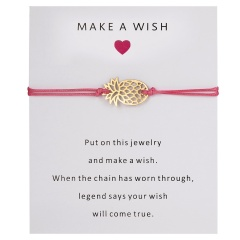Wish Card Alloy Gold Color Pineapple Charm Bracelet for Lovers Red String Weave Bracelets Women Men's Wish Jewelry Gift 5 Colors PINK