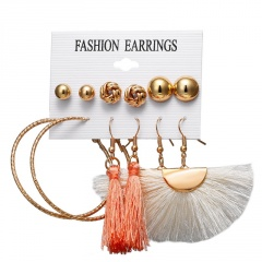 6 Design Fashion Long Tassel Stud Earrings Set Bohemian Geometric Earring Female Jewelry Geometric