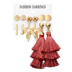 Fashion New Design Tassel Stud Earrings Set For Women Girl Bohemian Gold Flower Long Earring Female Fashion Wedding Jewelry Maple Leaf