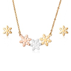 Fashion Stainless Steel Womens Hollow Pendant Necklace Earrings Jewelry Set Gift Snowflake
