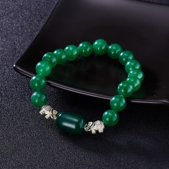 Fashion Green Beads Elephant Bracelet Glass Alloy Elephant Beaded Bracelet Men and Women Jewelry bracelet