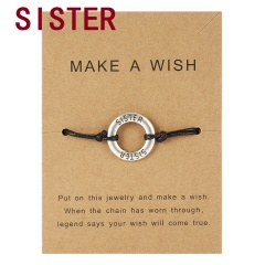 Make a Wish Card Sister Mother Grandma Family Best Friends Charm Bracelets Letter Engraved Friendship Forever Women Jewelry Gift Sister