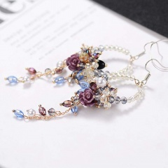 Charm Women Crystal Flower Tassel Stud Dangle Drop Fringed Hook Earrings Jewelry Flower