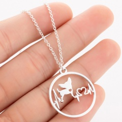 Fashion Gold Silver Stainless Steel Hollow ECG Pendant Necklace Women Jewelry Silver