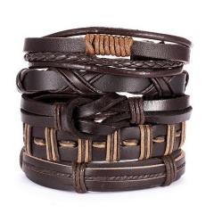 Men Bracelets Vintage Multilayer Leather Braid Bracelets Bangles Star Leaf Owl Handmade Rope Wrap Bracelets Male Gift Jewlery SET 5