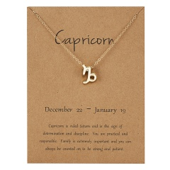 Fashion Women Constellations Pendant Necklace Gold Clavicle Chain Card Jewelry Capricorn