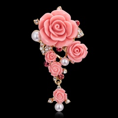 Rinhoo Fashion Flower Plant Brooches Women Lady Elegant Rhinestone Round Hollow Jewelry Gifts Cute Butterfly Pins Brooch style1-pink