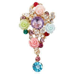 Rinhoo Fashion Flower Plant Brooches Women Lady Elegant Rhinestone Round Hollow Jewelry Gifts Cute Butterfly Pins Brooch style2-colorful