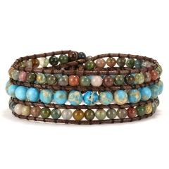 3 Layer Rope Wrap Bracelet for Women Matte Stone Bohemian Handmade Multilayer Mala Beads Leather Jewelry Woman Gift blue-green