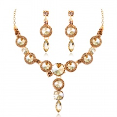Wedding Bridal Masquerade Necklace Earrings Rhinestone Set Coffee