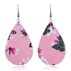 Lightweight Soft Teardrop Leather Earrings Boho PU Leather Drop Dangle Earrings Pink