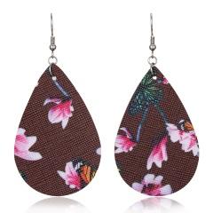 Lightweight Soft Teardrop Leather Earrings Boho PU Leather Drop Dangle Earrings Brown