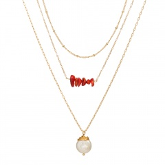 Fashion Women Multilayer Clavicle Necklace Pendant Charm Choker Chain Jewelry red stone pearl